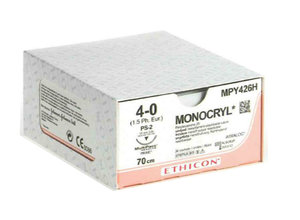 Monocryl suture 5-0, W3203, P-3 needle, 45 cm undyed